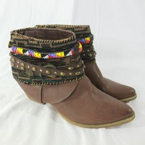 Sbicca Cleodora Brown Ankle Booties Beaded Details